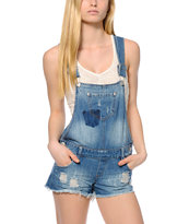 Highway Jeans Destroyed Overall Shorts