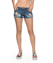 Highway Jeans Destructed Dark Wash Denim Shorts