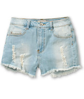 Highway Jeans Destructed Light Was High Waisted Shorts