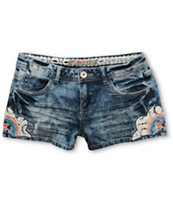Highway Jeans Embroidered Acid Wash Denim Shorts