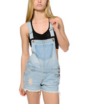 Highway Jeans Light Wash Destroyed Overall Shorts