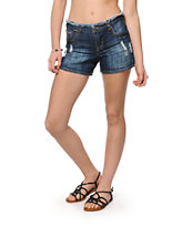 Highway Jeans Medium Blue Destroyed Denim Shorts