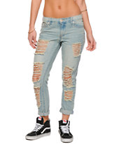 Highway Jeans Medium Wash Destructed Boyfriend Jeans