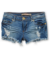 Highway Jeans Medium Wash Destructed Denim Shorts