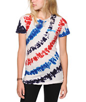 Honey Brand Co. Stripe Blue & Red Tie Dye T-Shirt