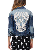 Hot Kiss Crochet Skull Denim Jacket