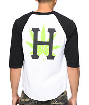Huf Plantlife Black, White & Green Baseball Tee Shirt