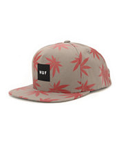 Huf Plantlife Grey & Red Snapback Hat