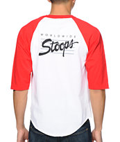 Huf Stoops White & Red Baseball Tee Shirt