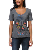 Hurley Girls Beach Tour Black Scoop Neck Tee Shirt