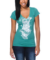 Hurley Girls Owl Green V-Neck Tee Shirt
