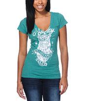 Hurley Owl Green V-Neck T-Shirt