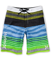 Hurley Phantom Faux Stripe Green & Blue 21 Board Shorts