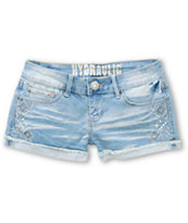 Hydraulic Bailey Aztec Embroidered Light Wash Denim Shorts
