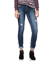 Hydraulic Bailey Dark Wash Destroyed Skinny Jeans