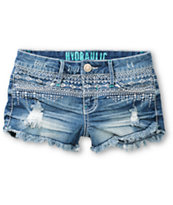 Hydraulic Farrah Tribal Embroidered High Waisted Denim Shorts