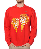 ICECREAM Cones & Bones Red Crew Neck Sweatshirt
