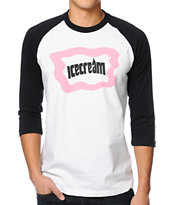 ICECREAM Cones And Bones White & Black Baseball Tee Shirt