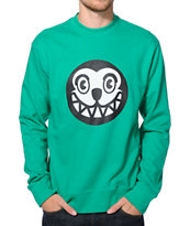 ICECREAM Dog Face Kelly Green Crew Neck Sweatshirt