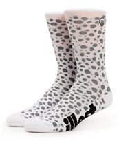 Illest Safari White & Grey Animal Print Crew Socks