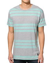 Imperial Motion Invert Grey & Mint Stripe Tee Shirt
