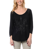 Insight Love N' Arrows Black Raglan Top