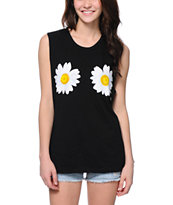 Jac Vanek Double Daisy Black Muscle Tee Shirt