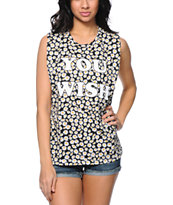 Jac Vanek You Wish Daisy Print Black Muscle Tee Shirt