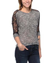 Jolt Black Lace Dolman Top