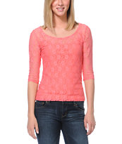 Jolt Coral Lace Open Back Top