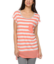 Jolt Coral Stripe & Chiffon Tunic Top