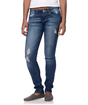 Jolt Destructed Medium Blue Skinny Jeans