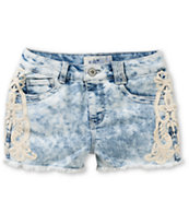 Jolt Everly Light Acid Wash Crochet Denim Shorts