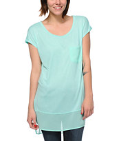 Jolt Mint & Chiffon Tunic Top