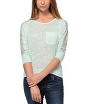 Jolt Mint Lace Dolman Top