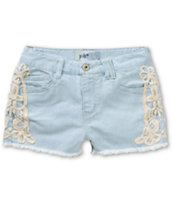 Jolt Sadie Crochet Side Light Wash Denim Shorts