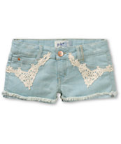 Jolt Vivian Crochet Front Light Wash Denim Shorts