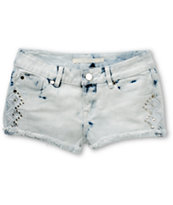 Jou Jou Barra Beach Studded Light Wash Denim Shorts