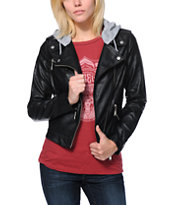 Jou Jou Black Faux Leather Motorcycle Jacket