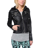 Jou Jou Black Faux Leather Zip Up Jacket