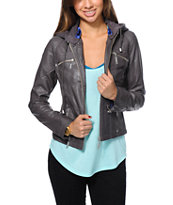 Jou Jou Charcoal Grey Faux Leather Zip Up Jacket