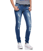Jou Jou Medium Blue Wash Destructed Skinny Jeans
