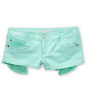 Jou Jou Mint Crochet Denim Shorts