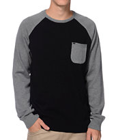 KR3W Camden Black & Grey Raglan Pocket Sweater