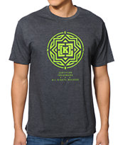 KR3W Compass Heather Charcoal & Lime Tee Shirt