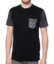 KR3W Hoover Color Block Black Pocket Tee Shirt