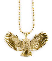 King Ice Gold Great Horned Owl Necklace
