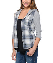Kiss Pery Grey & Blue Plaid Hooded Shirt