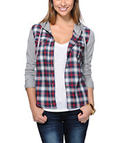 Kiss Pery Red, White & Blue Plaid Hooded Shirt
