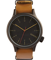 Komono Black Cognac Analog Watch